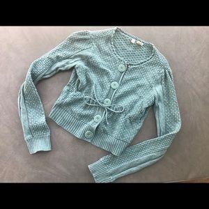 Anthropologie Moth Blue Short Cardigan Sweater M